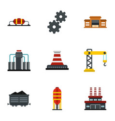Extraction and refinery facilities icons set vector