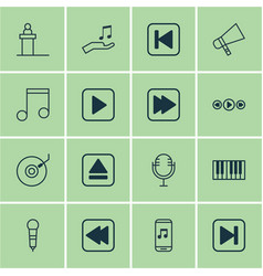 Set of 16 audio icons includes extract device vector