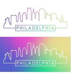 philadelphia skyline colorful linear style vector image