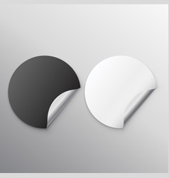 Black and white blank stickers with curl vector