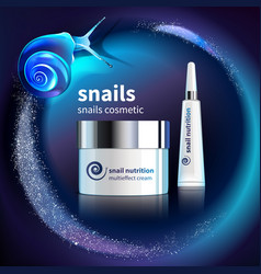 Snails cosmetic advertising template vector