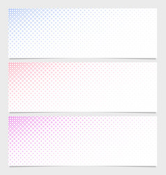 Halftone circle pattern banner template set - vector