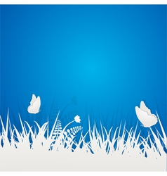 paper butterflies and grass vector image