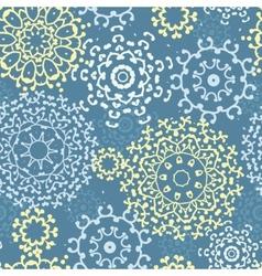 Yellow gray abstract mandalas seamless pattern vector image