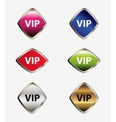Vip label button set vector