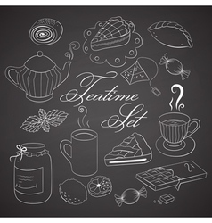 Handdrawn teatime set on black chalkboard vector