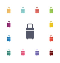 Travel bag flat icons set vector