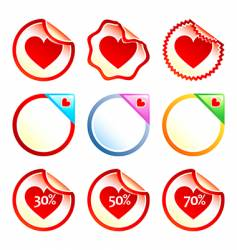 Heart stickers or labels vector