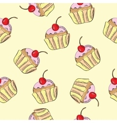 Seamless pattern with cakes vector