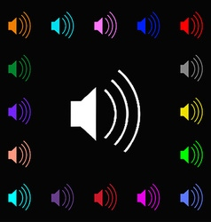 Volume sound icon sign lots of colorful symbols vector