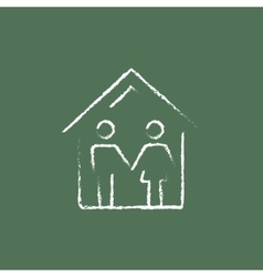 Family house icon drawn in chalk vector