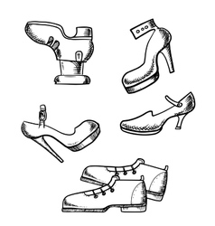Male boots and female high heeled shoes vector
