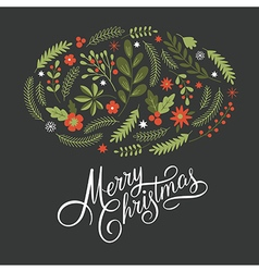 Merry christmas lettering on a dark background vector