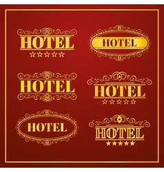 Hotel vintage labels vector
