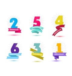 Set of anniversary numbers design 1 2 3 vector