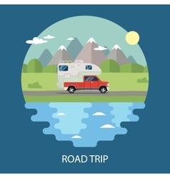 Road trip flat design camper vector