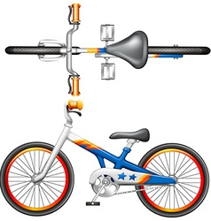 A top and side view of a bicycle vector image vector image