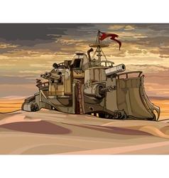 Cartoon fantastic military armored train with guns vector