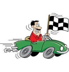 Cartoon man holding a checkered flag vector