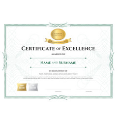 Certificate Of Excellence Template With Award Vector Image Vector Image