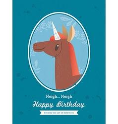 Cute Horse unicorn Animal Cartoon Birthday card vector image