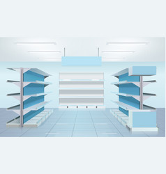 empty supermarket shelves design vector image