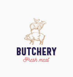 fresh meat butchery abstract sign symbol vector image vector image