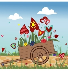 Hand truck with blossoming hearts on sky vector
