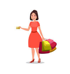 Happy shopping girl or woman with bags big sale vector