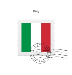 Italy Flag Postage Stamp vector image
