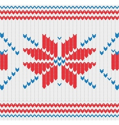 Knitted pattern with a snowflakes vector image