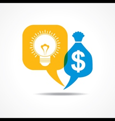 Light-bulb and dollar symbol in message bubble vector image