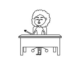 line woman teacher sitting and explaining to the vector image vector image
