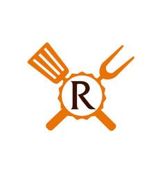 Logo restaurant letter r vector