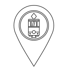 map pointer with tram icon outline style vector image vector image