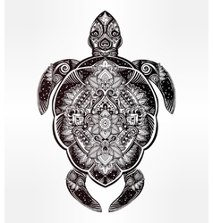 Ornate turtle in tattoo style vector