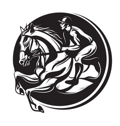 outline of indian ink horse riding riding horse vector image vector image