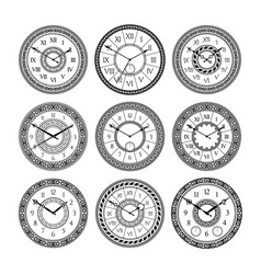 set of vintage clocks monochrome pictures vector image vector image