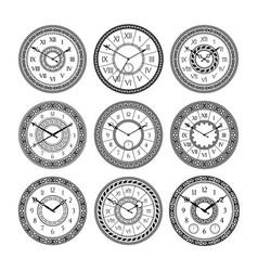 set of vintage clocks monochrome pictures vector image