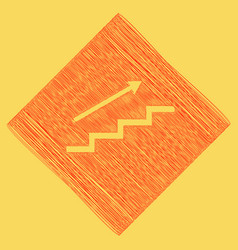 Stair with arrow red scribble icon vector