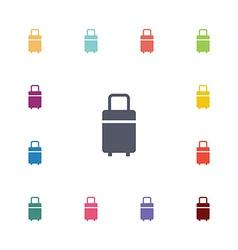 Travel bag flat icons set vector