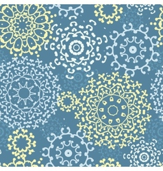 Yellow gray abstract mandalas seamless pattern vector