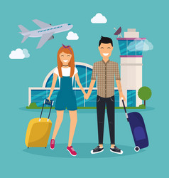 Young couple traveling with travel bag holding vector