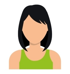 Young woman profile with dark hair and green vector