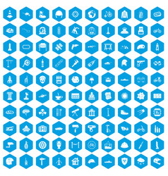 100 helmet icons set blue vector