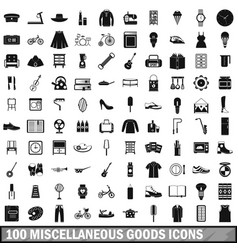 100 miscellaneous goods icons set simple style vector