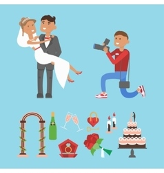 Wedding couple and photographer characters vector