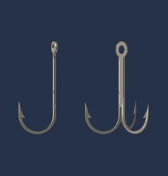 Two fishing hooks icon fisherman equipment sign vector