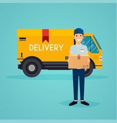 Delivery man and track flat design modern vector