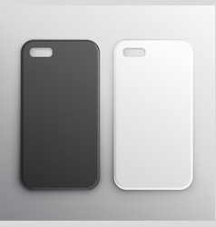 Empty black and white smartphone cases set vector